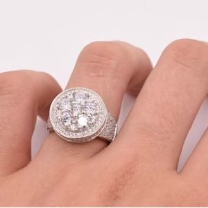 Men's Solid Silver White Gold Diamond Ring NEW